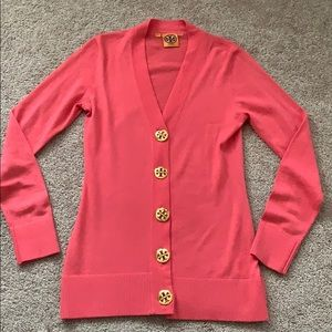 Tory Burch pink xs gold button cardigan sweater